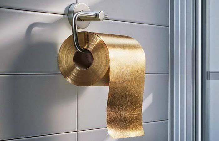 papel higiênico de ouro